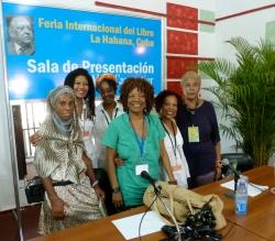 Escritoras y periodistas cubanas Yazmín Silvia Portales, Gloria Rolando, Nancy Morejón, Gisela Arandia en la conferencia de la Dra. Marie Ramos.